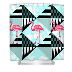 Ping Flamingo Shower Curtain by Mark Ashkenazi