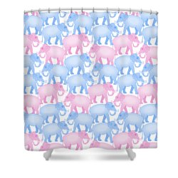 Pink And Blue Elephant Pattern Shower Curtain by Antique Images