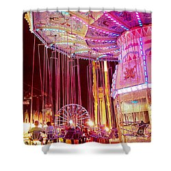 Pink Carnival Festival Ferris Wheel Night Ride Shower Curtain by Kathy Fornal