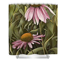 Pink Echinaceas Shower Curtain by Mary Ann King
