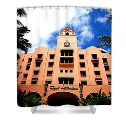 Pink Palace Of The Pacific Shower Curtain by Cheryl Young