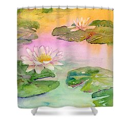 Pink Pond Shower Curtain by Amy Kirkpatrick