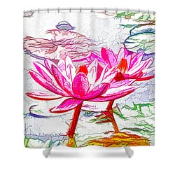 Pink Water Lily Flowers Blooming On Pond Shower Curtain by Lanjee Chee