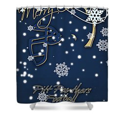 Pitt Panthers Christmas Cards Shower Curtain by Joe Hamilton