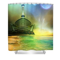 Planet Paladin Shower Curtain by Corey Ford