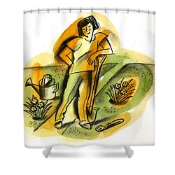 Planting Shower Curtain by Leon Zernitsky