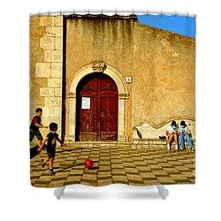 Playing In Taormina Shower Curtain by Silvia Ganora