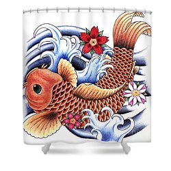 Playing Koi Shower Curtain by Maria Arango