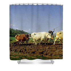 Ploughing In Nivernais Shower Curtain by Rosa Bonheur