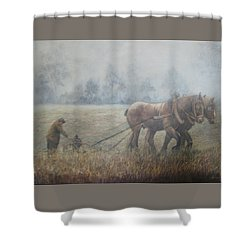 Plowing It The Old Way Shower Curtain by Donna Tucker