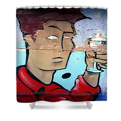 Plywood Boy Shower Curtain by Andrew Fare