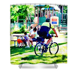 Police Officer Rides A Bicycle Shower Curtain by Lanjee Chee