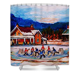 Pond Hockey Shower Curtain by Carole Spandau