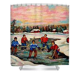 Pond Hockey Countryscene Shower Curtain by Carole Spandau