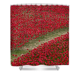 Poppies Of Remembrance Shower Curtain by Martin Newman