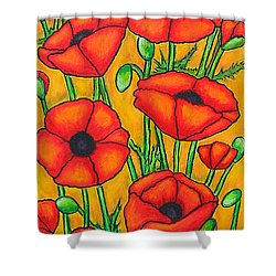 Poppies Under The Tuscan Sun Shower Curtain by Lisa  Lorenz