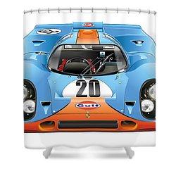 Porsche 917 Gulf On White Shower Curtain by Alain Jamar