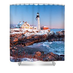 Portland Head Greets The Sun Shower Curtain by Susan Cole Kelly