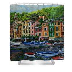 Portofino Harbor Shower Curtain by Charlotte Blanchard