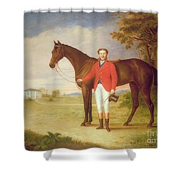 Portrait Of A Gentleman With His Horse Shower Curtain by English School