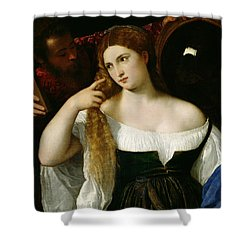 Portrait Of A Woman At Her Toilet Shower Curtain by Titian