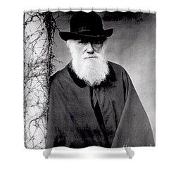 Portrait Of Charles Darwin Shower Curtain by Julia Margaret Cameron