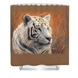 Portrait White Tiger 2 Shower Curtain by Lucie Bilodeau