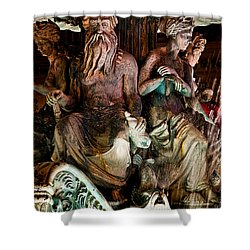 Poseidon And Friends Shower Curtain by Christopher Holmes