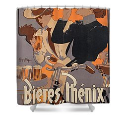 Poster Advertising Phenix Beer Shower Curtain by Adolf Hohenstein