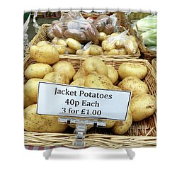 Potatoes At The Market  Shower Curtain by Tom Gowanlock