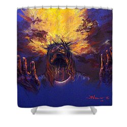 Power From On High Shower Curtain by Tommy  Winn