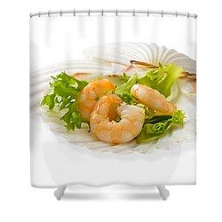 Prawn Appetizer Shower Curtain by Amanda Elwell