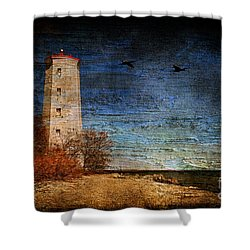 Presquile Lighthouse Shower Curtain by Lois Bryan
