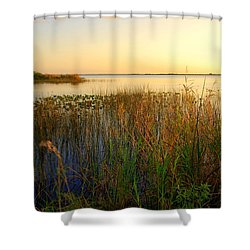 Pretty Evening At The Lake Shower Curtain by Susanne Van Hulst