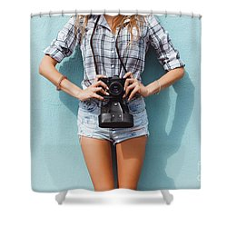 Pretty Woman Using Vintage Camera Shower Curtain by Siarhei Kazlou