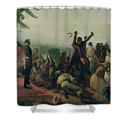 Proclamation Of The Abolition Of Slavery In The French Colonies Shower Curtain by Francois Auguste Biard