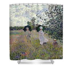 Promenade Near Argenteuil Shower Curtain by Claude Monet