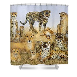 The Big Cats Shower Curtain by Pat Scott
