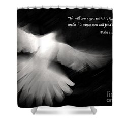 Psalm 91 Shower Curtain by Glennis Siverson