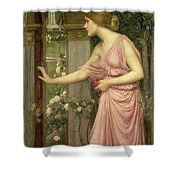 Psyche Entering Cupid's Garden Shower Curtain by John William Waterhouse