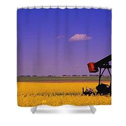 Pumpjack In A Canola Field Shower Curtain by Carson Ganci