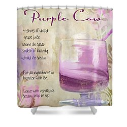Purple Cow Mixed Cocktail Recipe Sign Shower Curtain by Mindy Sommers