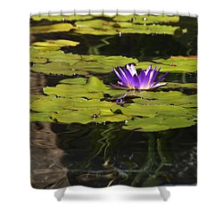 Purple Water Lilly Distortion Shower Curtain by Teresa Mucha
