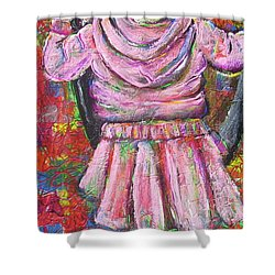 Push Me Daddy Shower Curtain by Jacqueline Athmann