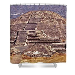 Pyramid Of The Sun - Teotihuacan Shower Curtain by Juergen Weiss