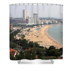 Qingdao Beach With Skyline Shower Curtain by Carol Groenen