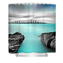 Quantum Divide Panorama Shower Curtain by Az Jackson