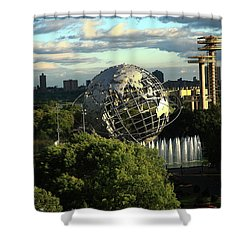 Queens New York City - Unisphere Shower Curtain by Frank Romeo