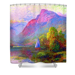 Sailing Into A Quiet Haven Shower Curtain by Jane Small