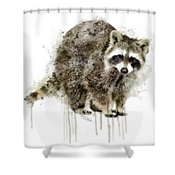 Raccoon Shower Curtain by Marian Voicu